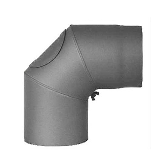 Ofenrohr / Rauchrohr Bogenknie 90° Ø150mm Senotherm gussgrau mit Tür Bild 2