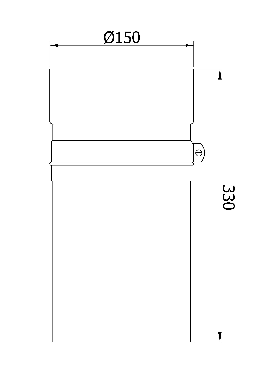 Ofenrohr / Rauchrohr Senotherm grau Ø150mm Länge 330mm einschiebbar Bild 1