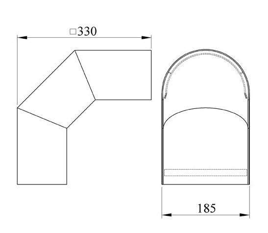 Hitzeschutz Rohrblende Winkel 90° Senotherm schwarz Ø 150 mm Bild 1