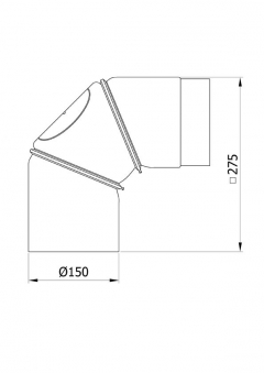 Ofenrohr Bogenknie 3tlg verdrehbar 0-90° Ø150mm Senoth. schw. m.T. Bild 1