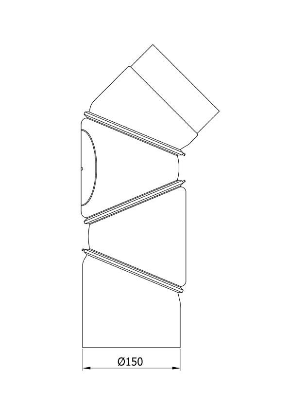 Ofenrohr Bogenknie 4tlg verstellbar 0-90° Ø150mm Senoth. schwarz m.T. Bild 1