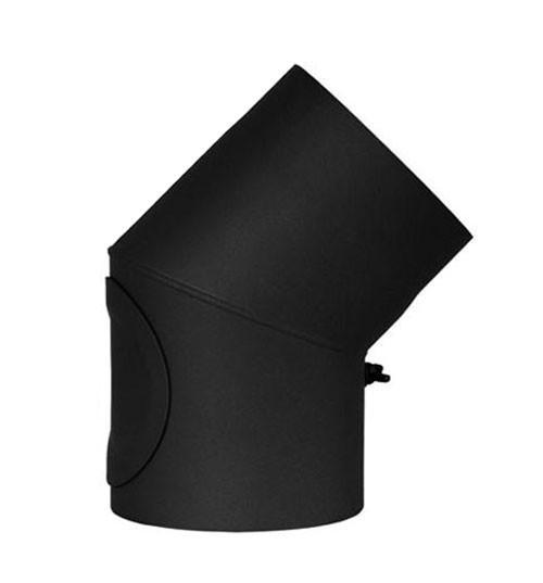 Ofenrohr / Rauchrohr Bogenknie 45° Ø150mm Senotherm schwarz mit Tür Bild 2