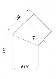 Ofenrohr / Rauchrohr Bogenknie 45° Ø150mm Senotherm schwarz ohne Tür Bild 1