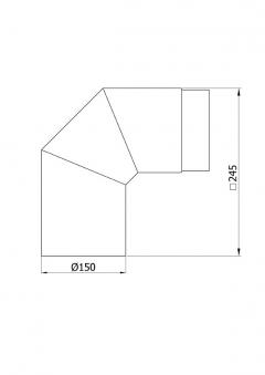 Ofenrohr / Rauchrohr Bogenknie 90° Ø150mm Senotherm schwarz ohne Tür Bild 1