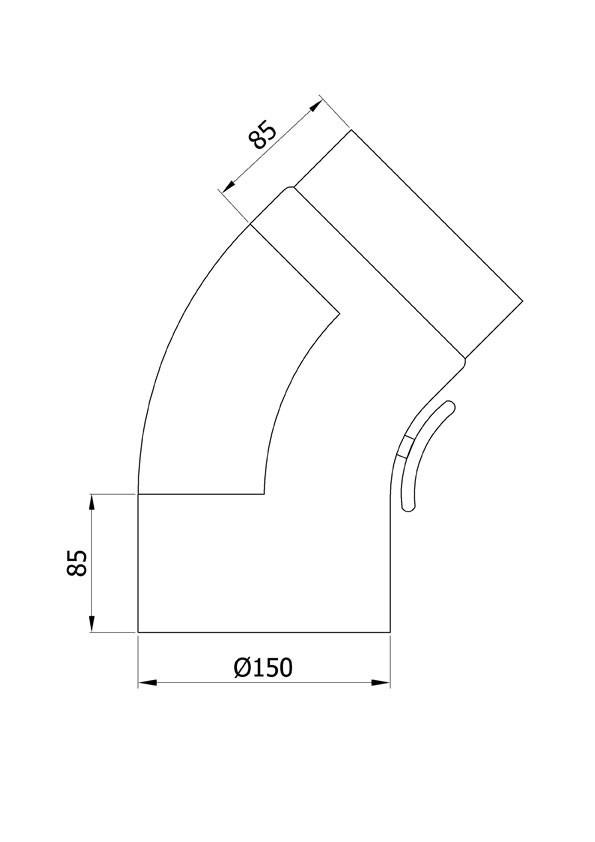 Ofenrohr / Rauchrohr Bogenknie gezogen 45° Ø150mm Senoth. schwarz m.T. Bild 1