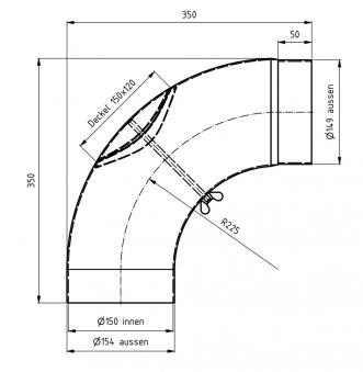 Ofenrohr / Rauchrohr Bogenknie gezogen 90° Ø150mm Senoth. schwarz m.T. Bild 1