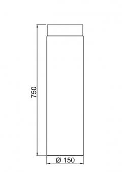 Ofenrohr / Rauchrohr Senotherm schwarz Ø150 mm Länge 750 mm Bild 1