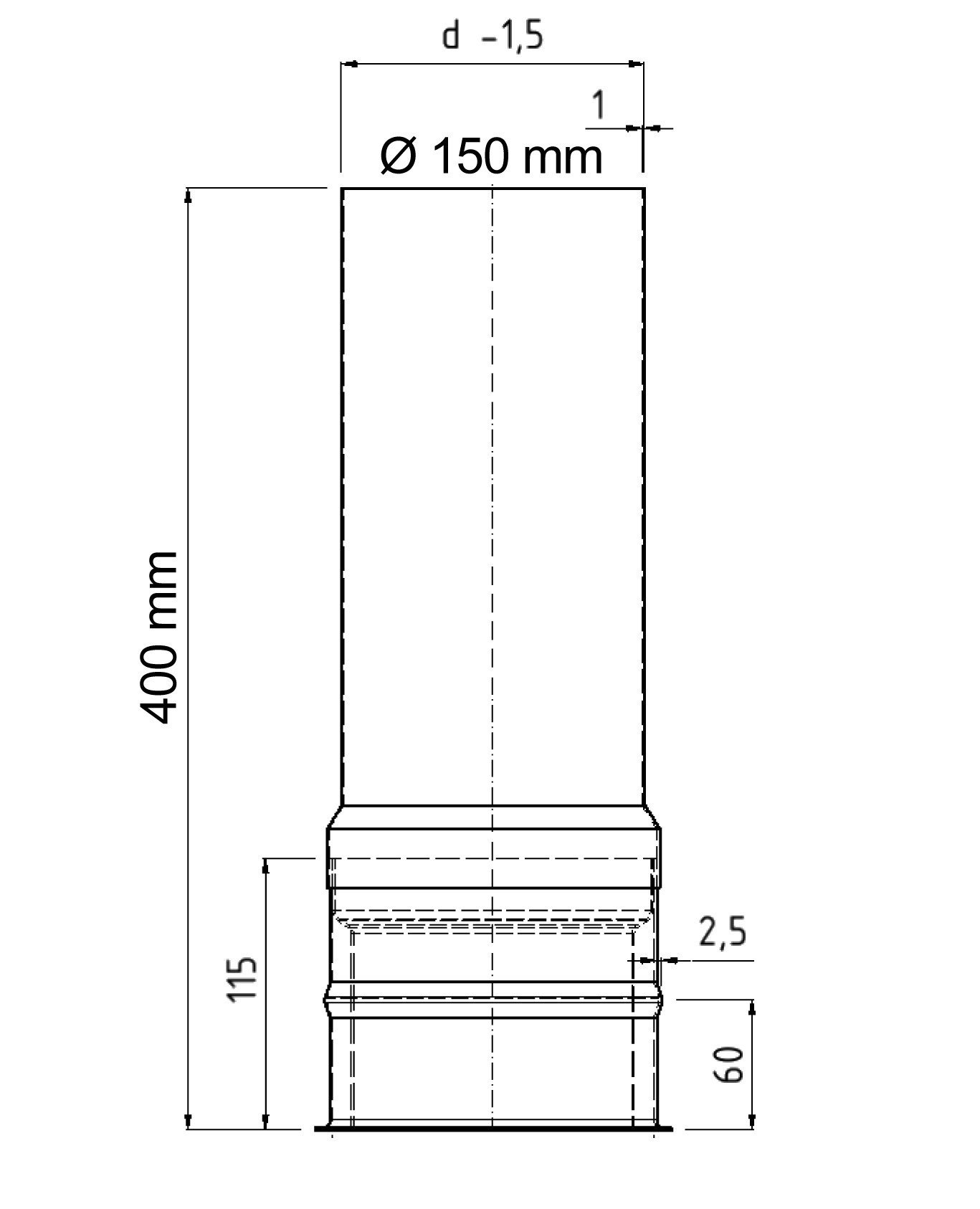 Wandfutter doppelwandig mit Verlängerung FAL Ø150/400mm Bild 1