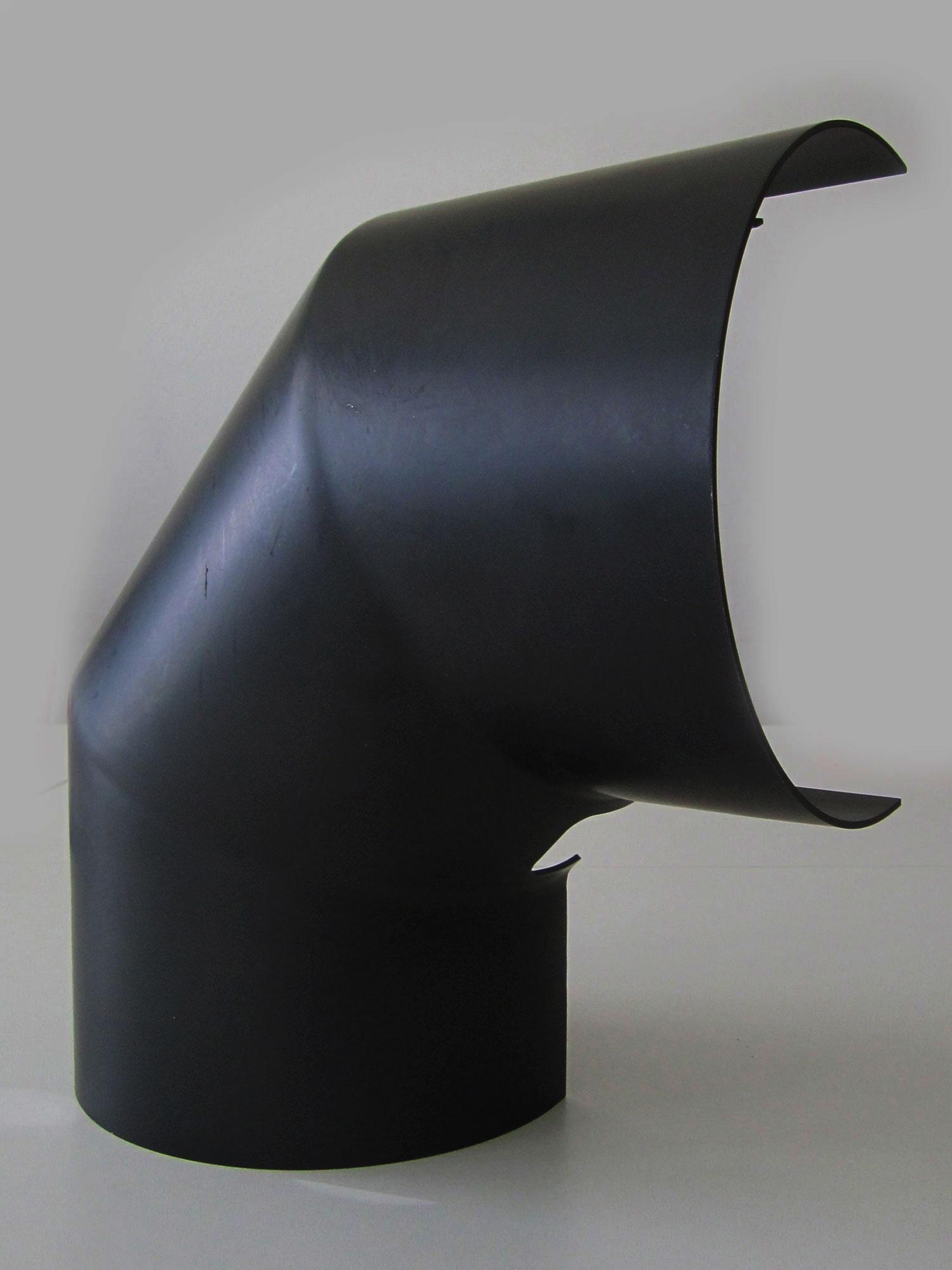 Hitzeschutz Rohrblende Winkel 90° Stahlblech schwarz Ø160mm seitlich Bild 3