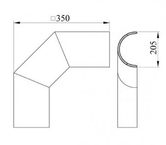 Hitzeschutz Rohrblende Winkel 90° Stahlblech schwarz Ø160mm seitlich Bild 1