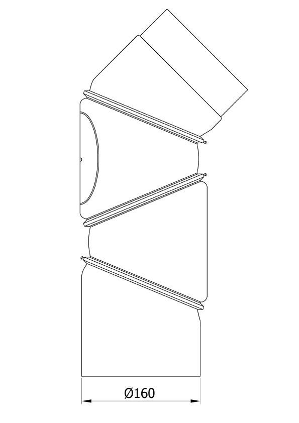 Ofenrohr Bogenknie 4tlg verstellbar 0-90° Ø160mm Stahl schwarz mit Tür Bild 1