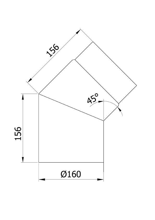 Ofenrohr / Rauchrohr Bogenknie 45° Ø160mm Senotherm schwarz ohne Tür Bild 1