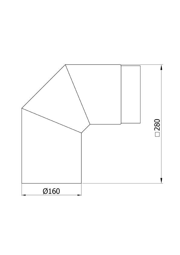 Ofenrohr / Rauchrohr Bogenknie 90° Ø160mm Senotherm schwarz ohne Tür Bild 1