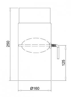 Ofenrohr / Rauchrohr Stahlblech schwarz Ø160mm 250mm mit Drosselklappe Bild 1