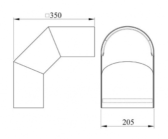 Hitzeschutz Rohrblende Winkel 90° Senotherm schwarz Ø 180 mm Bild 1
