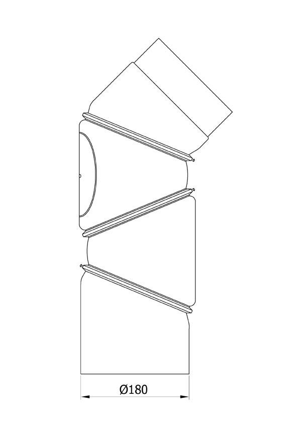 Ofenrohr Bogenknie 4tlg verstellbar 0-90° Ø180mm Stahl schwarz mit Tür Bild 1