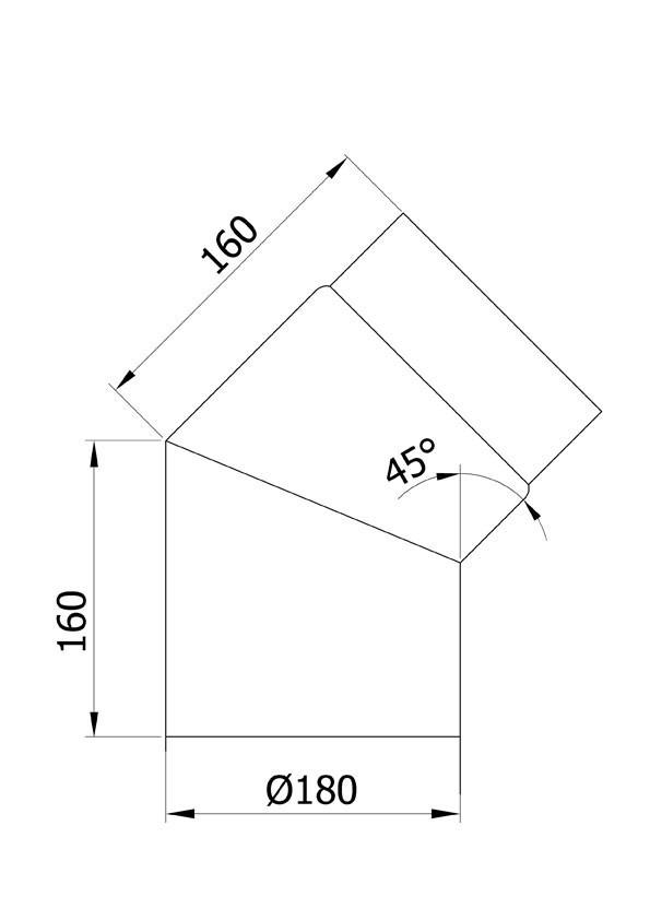 Ofenrohr / Rauchrohr Bogenknie 45° Ø180mm Senotherm schwarz ohne Tür Bild 1
