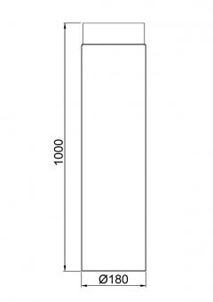 Ofenrohr / Rauchrohr Senotherm schwarz Ø180mm Länge 1000 mm Bild 1