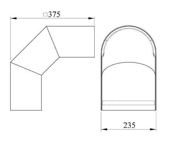 Hitzeschutz Rohrblende Winkel 90° Senotherm schwarz Ø 200 mm Bild 1