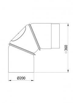Ofenrohr Bogenknie 3tlg verstellbar 0-90° Ø200mm schwarz mit Tür Bild 1
