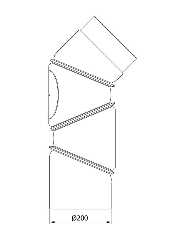 Ofenrohr Bogenknie 4tlg verstellbar 0-90° Ø200mm Stahl schwarz mit Tür Bild 1