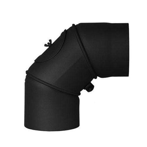 Ofenrohr Bogenknie verstellbar 0-90° Ø200mm Stahl blank mit Tür Bild 2