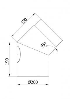 Ofenrohr / Rauchrohr Bogenknie 45° Ø200mm Senotherm schwarz mit Tür Bild 1