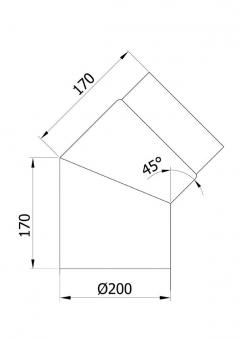 Ofenrohr / Rauchrohr Bogenknie 45° Ø200mm Senotherm schwarz ohne Tür Bild 1