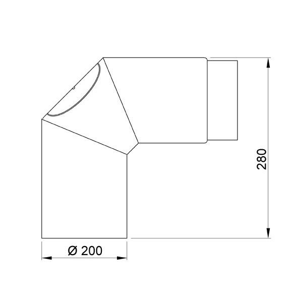 Ofenrohr / Rauchrohr Bogenknie 90° Ø200mm Senotherm schwarz mit Tür Bild 1