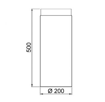 Ofenrohr / Rauchrohr Stahl blank Ø200mm Länge 500 mm Bild 1