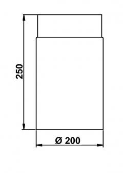 Ofenrohr / Rauchrohr Stahlblech Senotherm schwarz Ø200mm Länge 250mm Bild 1