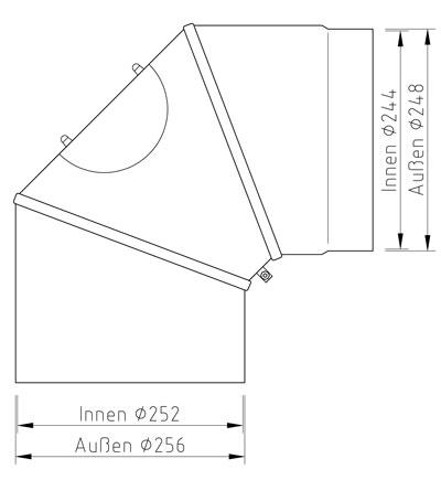 Ofenrohr Bogenknie Hark verstellbar 0- 90° Ø250mm Stahl blank mit Tür Bild 2