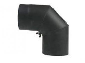 Ofenrohr Bogenknie Hark verstellbar 0- 90° Ø250mm Stahl blank mit Tür Bild 1