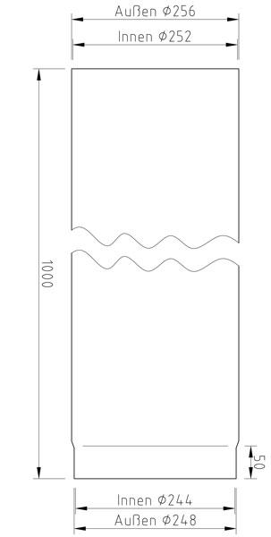 Ofenrohr / Rauchrohr Hark Stahl blank Ø250mm Länge 1000 mm Bild 2