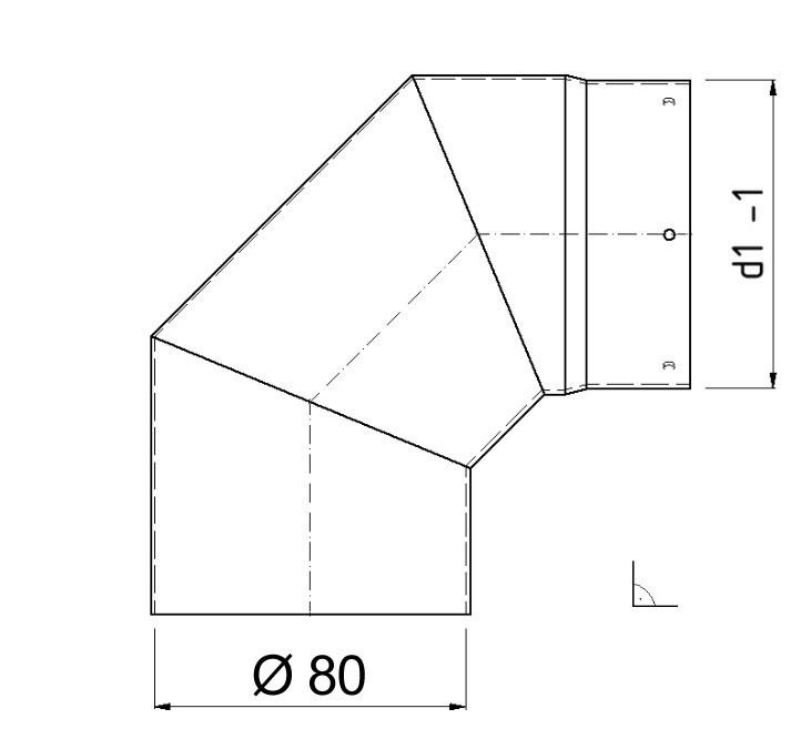 Ofenrohr / Rauchrohr Bogenknie 90° Ø80mm Senotherm 1,2mm grau ohne Tür Bild 1