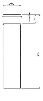 Ofenrohr für Pelletofen Senotherm 1,2mm grau Ø 80mm Länge 500mm Bild 3