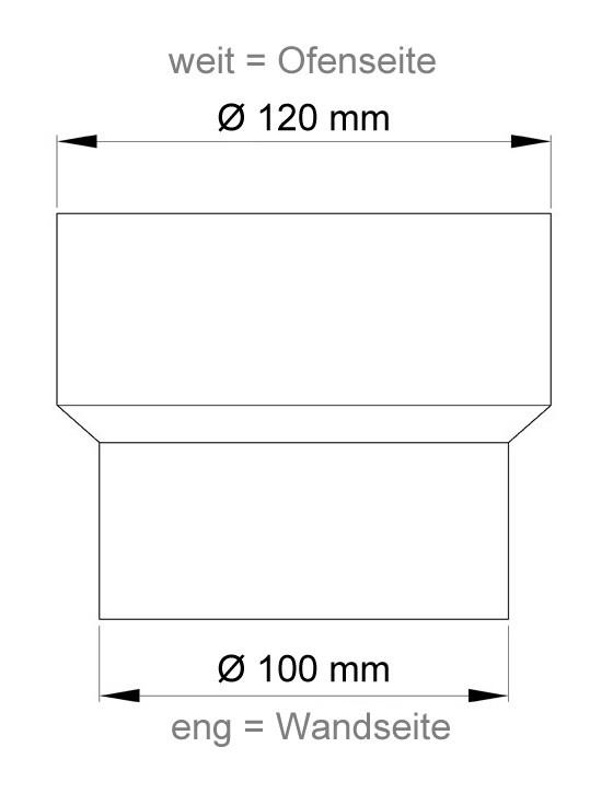 Ofenrohr Reduzierung 120weit auf 100eng schwarz Bild 1