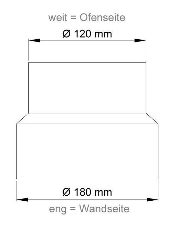 Ofenrohr Reduzierung 120weit auf 180eng grau Bild 1