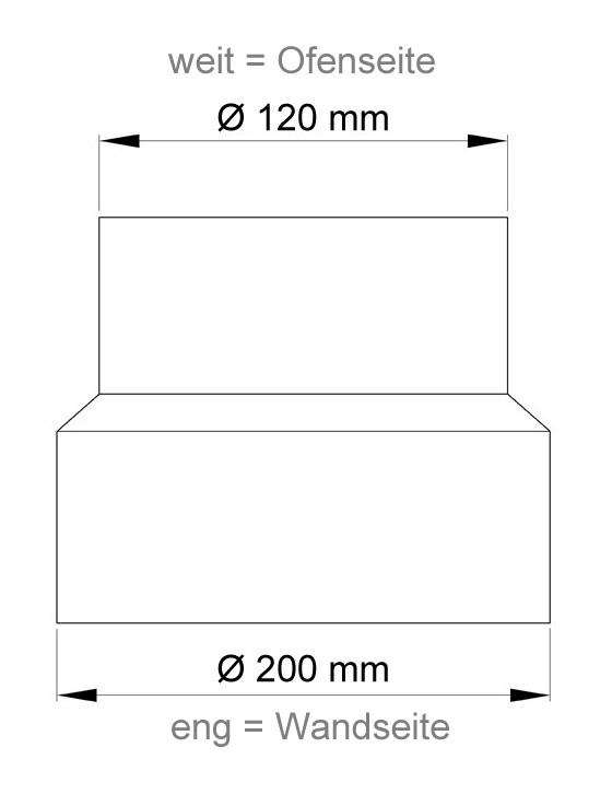 Ofenrohr Reduzierung 120weit auf 200eng grau Bild 1