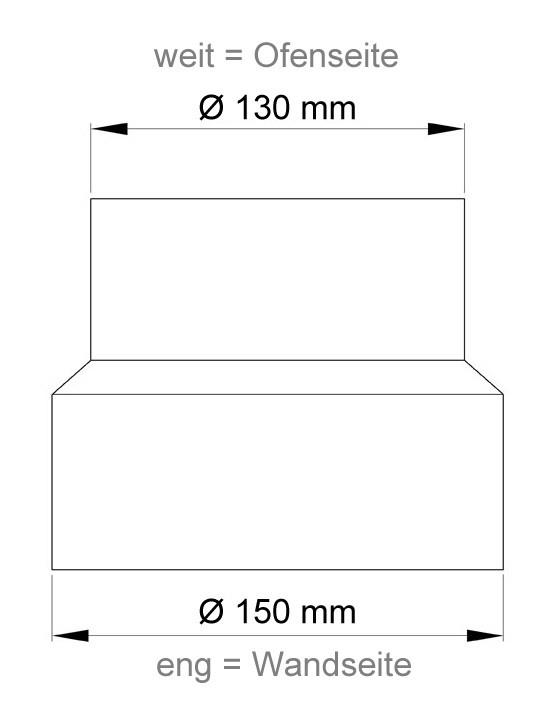 Ofenrohr Reduzierung 130weit auf 150eng schwarz Bild 1