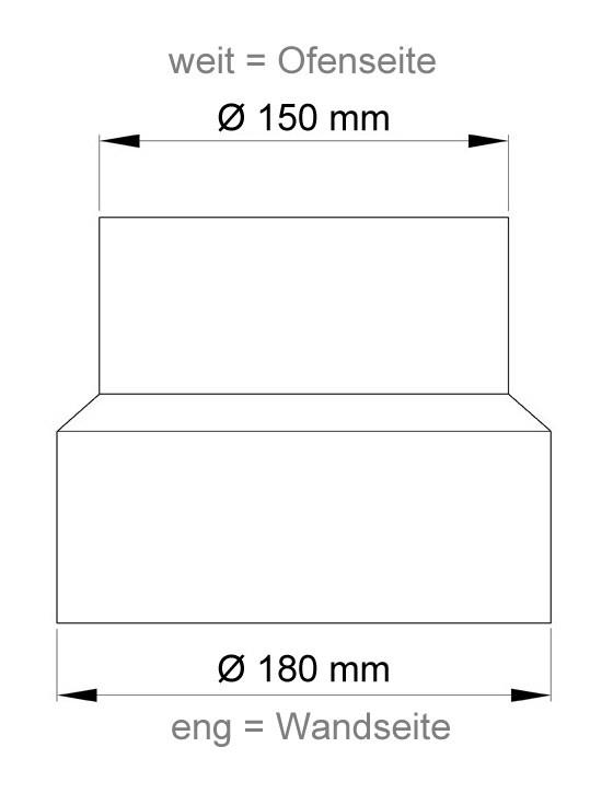 Ofenrohr Reduzierung 150 weit auf 180eng schwarz Bild 1