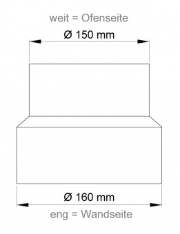 Ofenrohr Reduzierung 150weit auf 160eng schwarz Bild 1