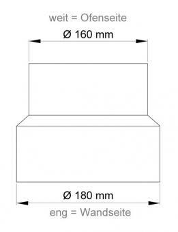 Ofenrohr Reduzierung 160weit auf 180eng gussgrau Bild 1