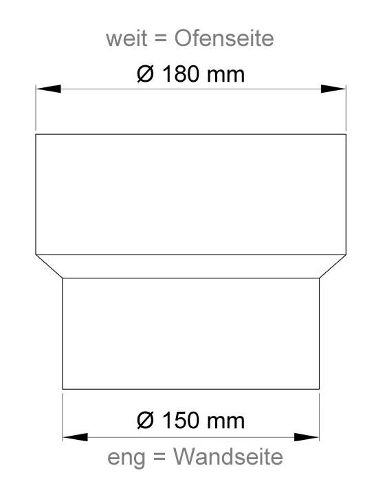 Ofenrohr Reduzierung 180 weit auf 150eng schwarz Bild 1