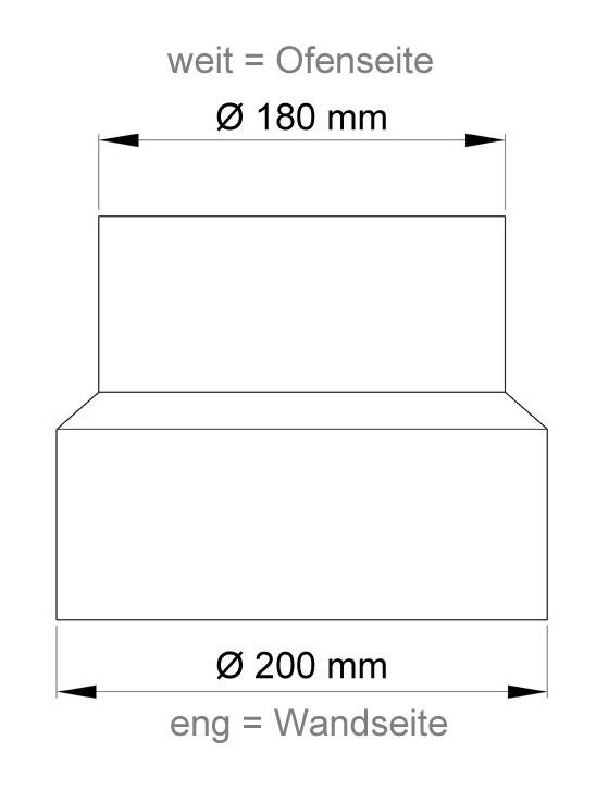 Ofenrohr Reduzierung 180weit auf 200eng gussgrau Bild 1