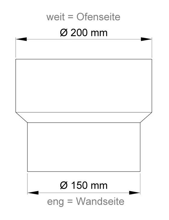 Ofenrohr Reduzierung 200weit auf 150eng schwarz Bild 1