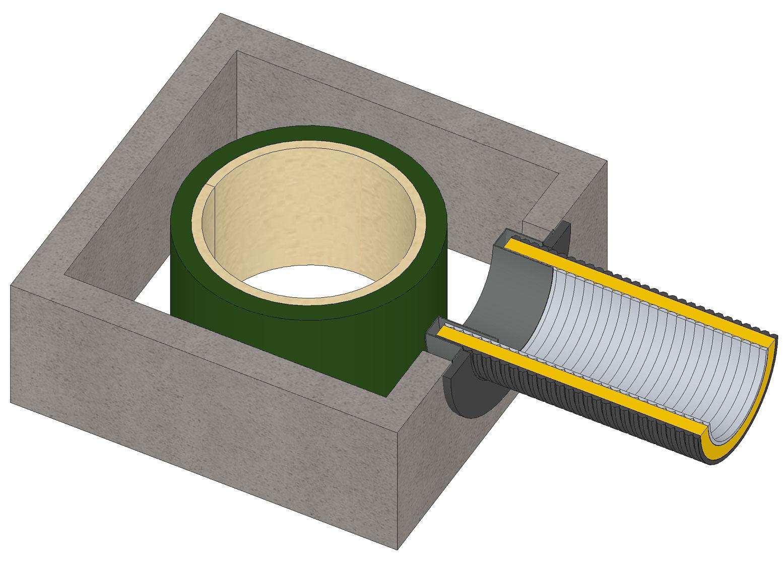 Anschlussstutzen für externe Luftzufuhr Ø 80 mm verzinkt LAS Ringspalt Bild 3