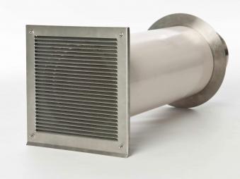 externer Luftanschluss Mauerdurchführung Doppelklappe 80mm Stutzen