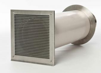 externer Luftanschluss Mauerdurchführung Doppelklappe 50mm Stutzen
