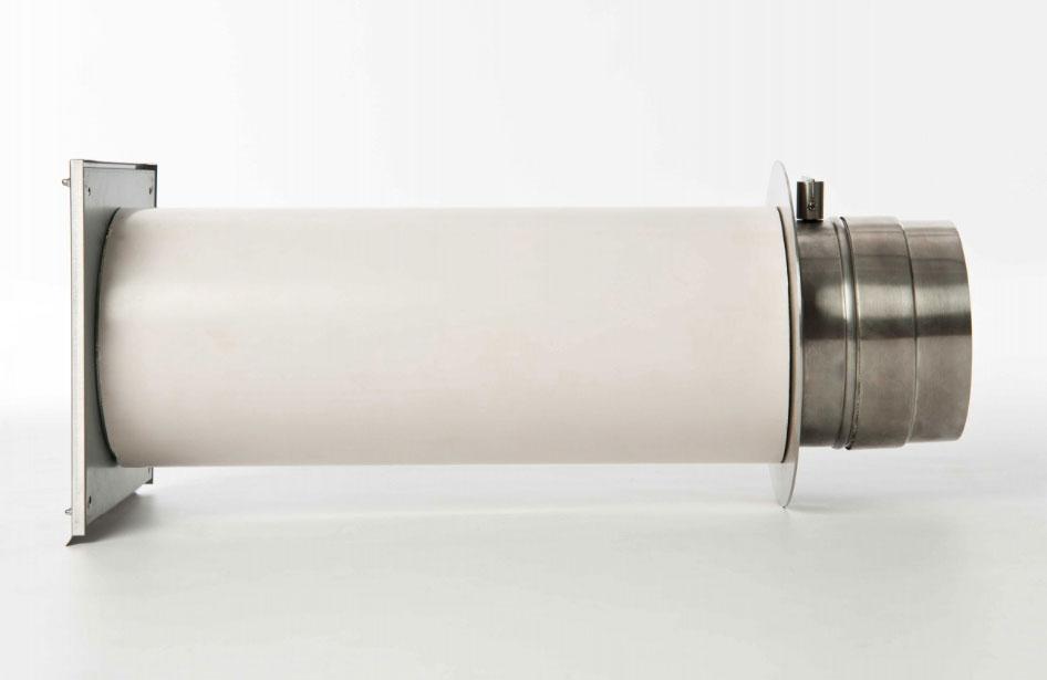 externer Luftanschluss Mauerdurchführung Doppelklappe 60mm Stutzen Bild 2